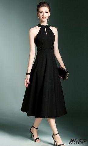 Black Cold Shoulder Keyhole Midi Dress #blackdresscasual