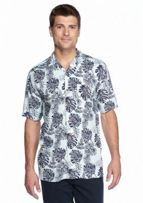 Ocean  Coast  Short Sleeve Two Tone Tropics Woven Shirt