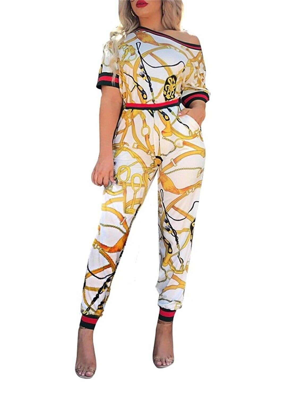 513b453e95d77f Women s Off Shoulder Long Sleeve Floral Print 2 Pieces Outfits Jumpsuit -  Yellow - CC185UEH0QQ