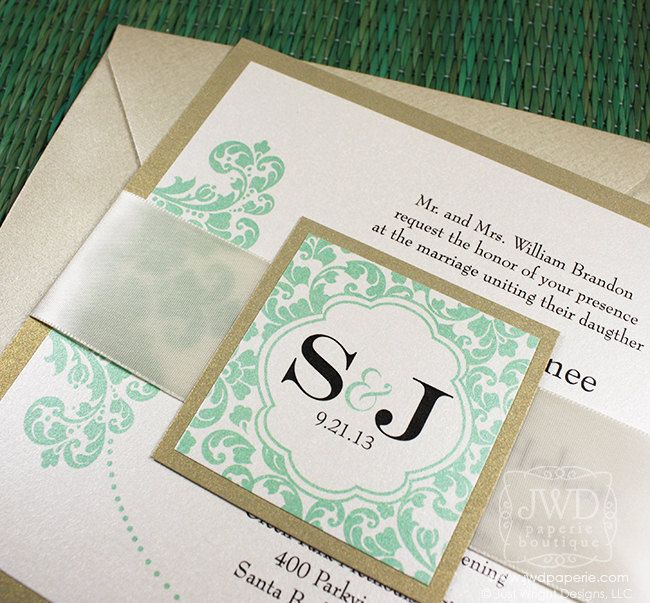 Wedding invitation modern champagne mint green light gold wedding items similar to elegant wedding invitation light gold mint green wedding invitation luxury flourish wedding invite with ribbon kirkland sample kit on stopboris Choice Image