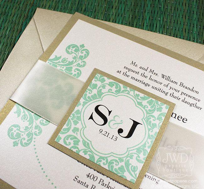 Wedding Invitation Modern Champagne Mint Green Light Gold