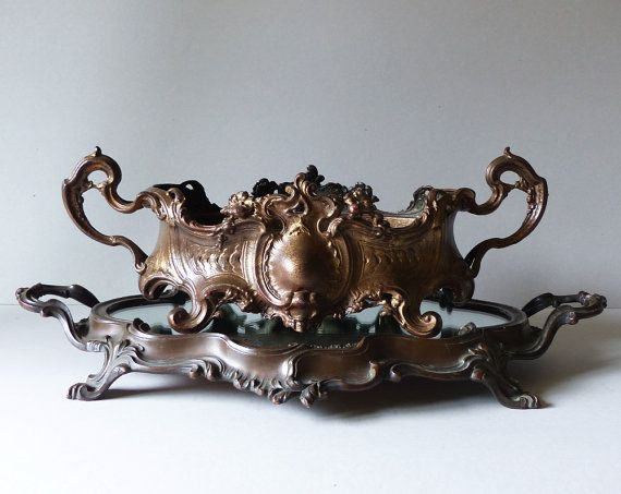Large French Antique Jardiniere And Its Mirror Tray   Floweru0027s Planter   Table  Centre Piece