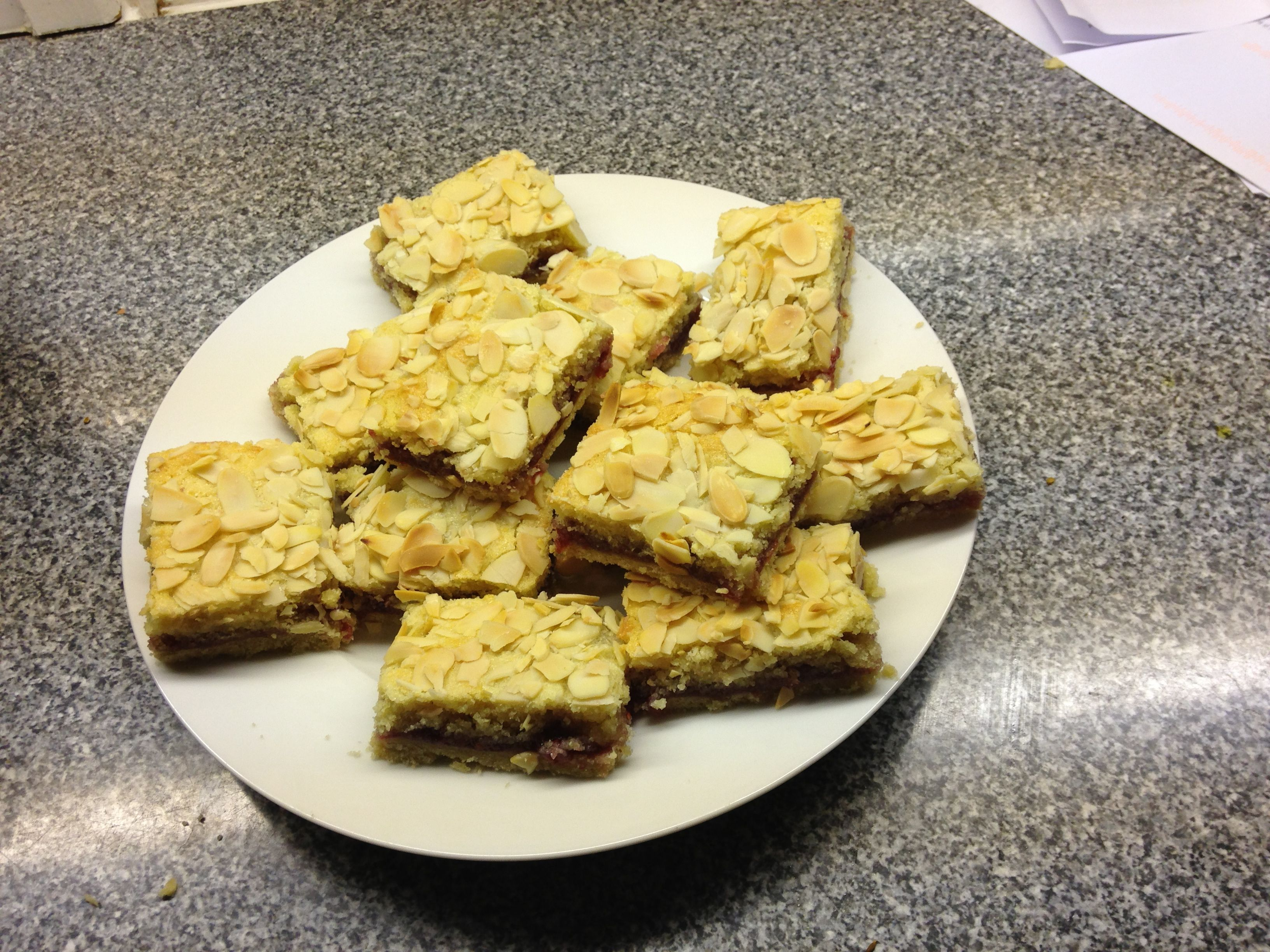 Bakewell slices made with my 4 year old. Recipe from Rachel Allen's book Bake though we added more raspberry jam. Will try with apricot jam next time.