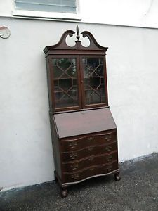 Tall Mahogany Ball Claw Foot Secretary Desk Chest Of Drawers 5750 In Antiques Furniture Desks Secretaries 1900 1950 Ebay