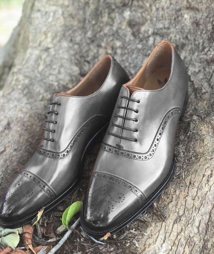 Mens Gray Oxfords Brogues Lace Up Cap Toe Formal Wear