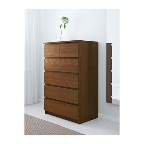 Malm 6 Drawer Chest Brown Stained Ash Veneer Ikea Home