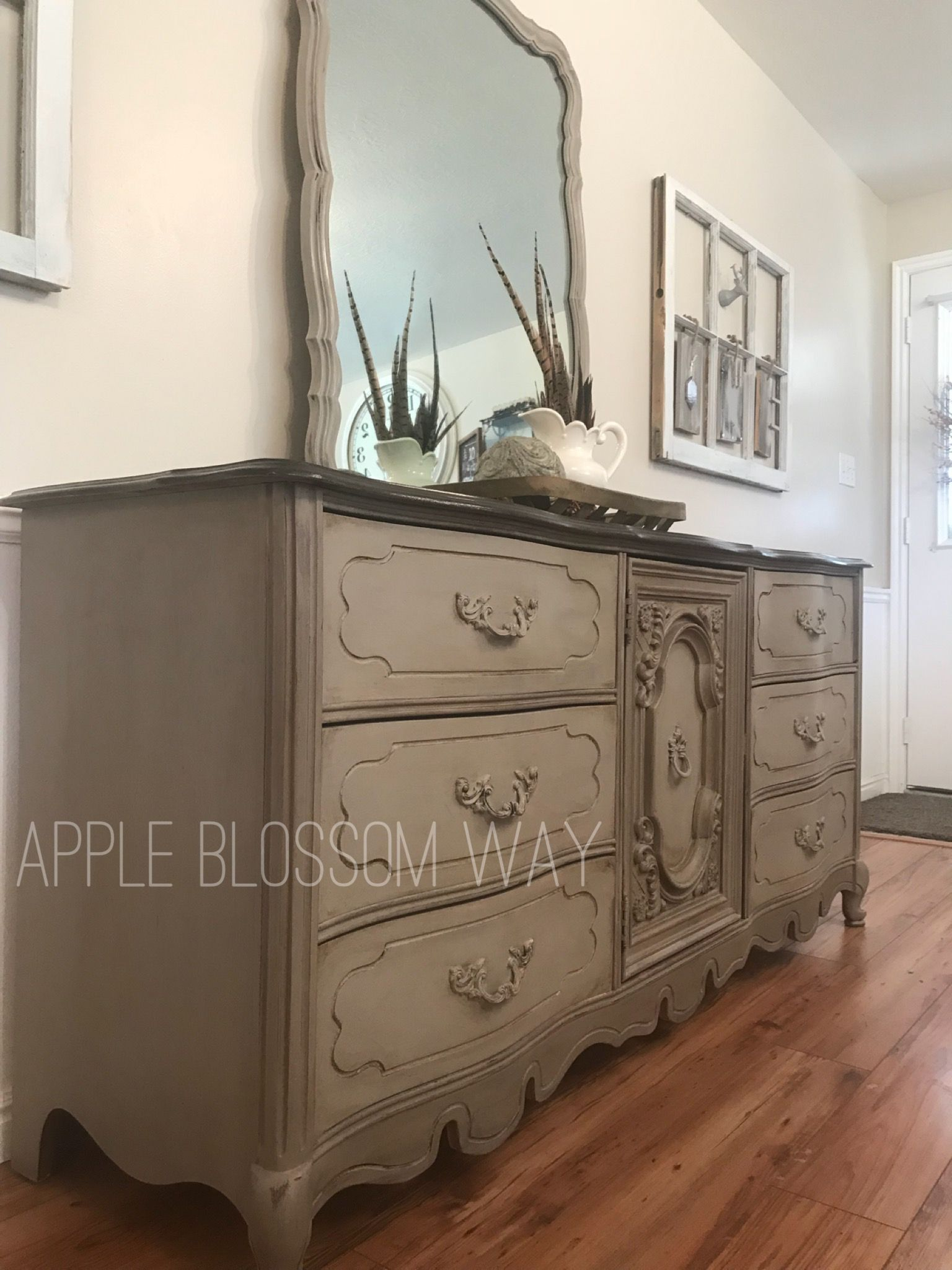 Dresser Painted In Annie Sloan Chalk Paint Coco And French Linen Waxed With Dark Wax Top S Bedroom Furniture Makeover Distressed Furniture Furniture Makeover
