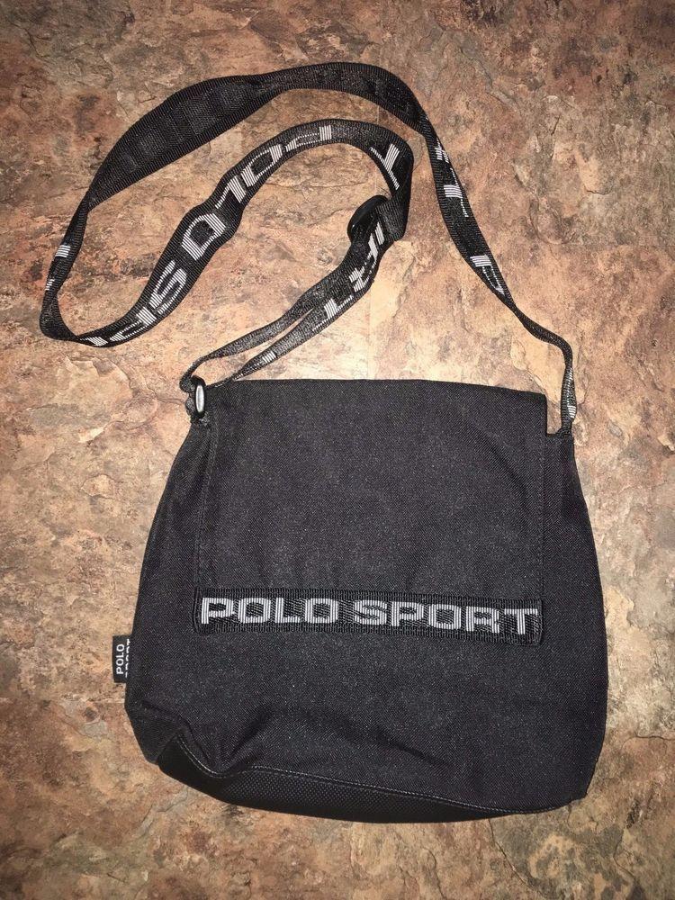 ae0dcfccc5 Vintage Polo Sport Ralph Lauren Black Nylon Crossbody Purse Bag Spelled Out   PoloSport  MessengerShoulderBag
