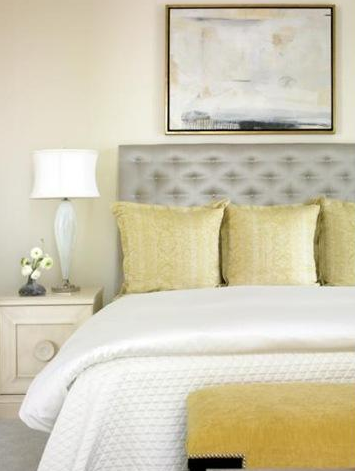 eliware: Womack Interiors - Creamy walls, gray silk tufted headboard ...
