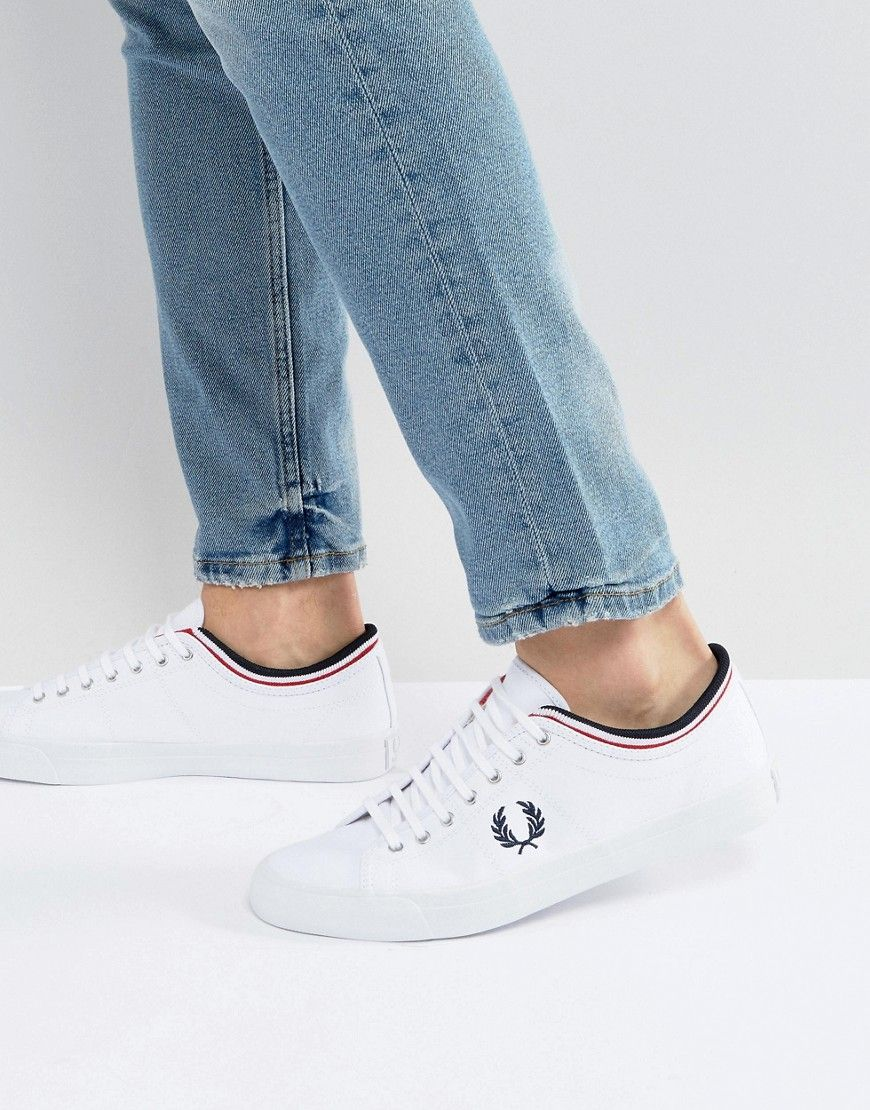 FRED PERRY KENDRICK TIPPED CUFF CANVAS SNEAKERS WHITE - WHITE.  fredperry   shoes   0a4ef23d93