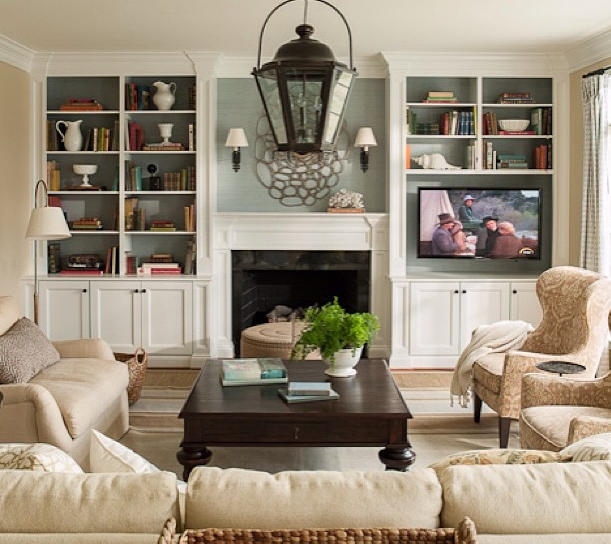 Family Room Design With Tv: Built-ins Flanking Fireplace