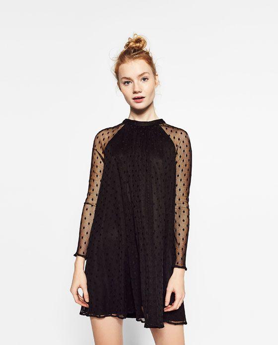 ZARA - WOMAN - TULLE AND PLUMETIS DRESS  5ac18ed73b5