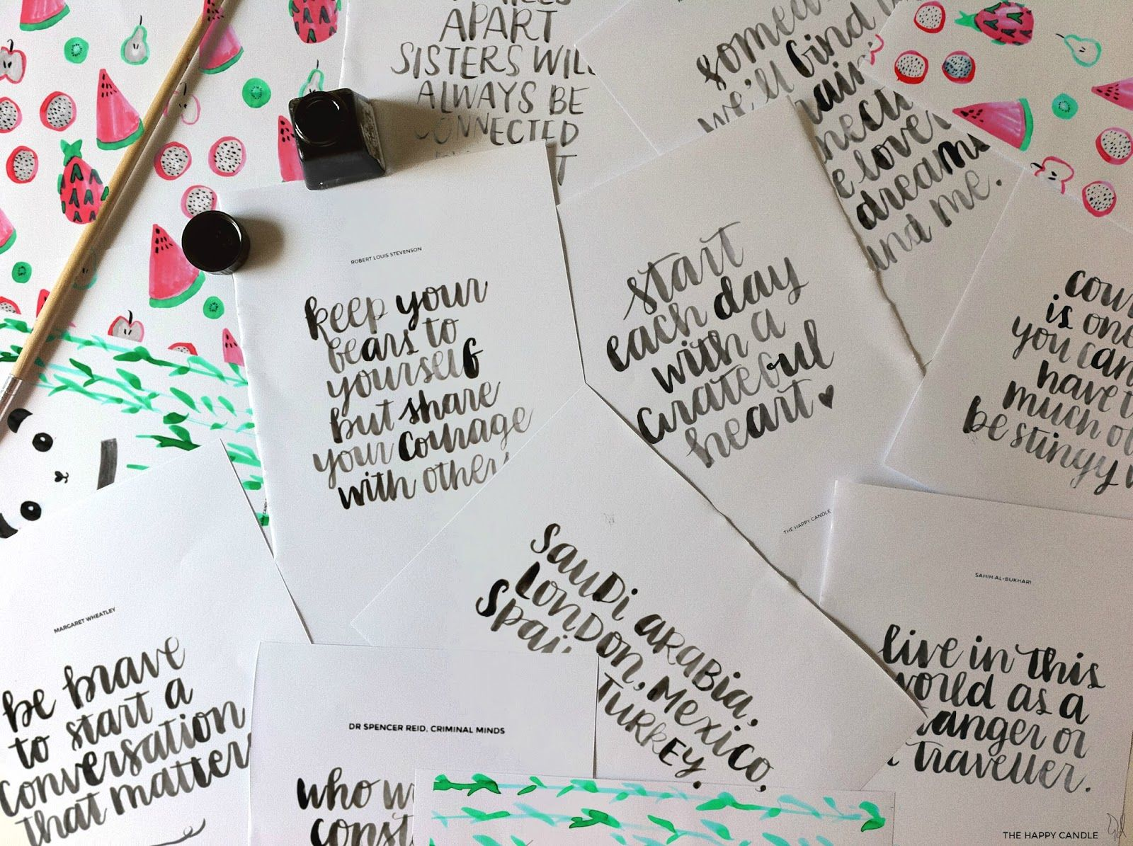 Brush lettering with round brush and indian ink lettering and