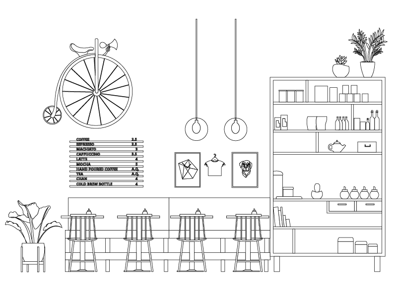 Modern Coffee House Dwg Interior Architecture Drawing Interior Design Sketches Interior Design Drawings