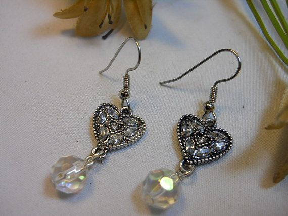 Vintage Hearts Clear AB Swarovski Crystal by TheresACharm4That, $14.00