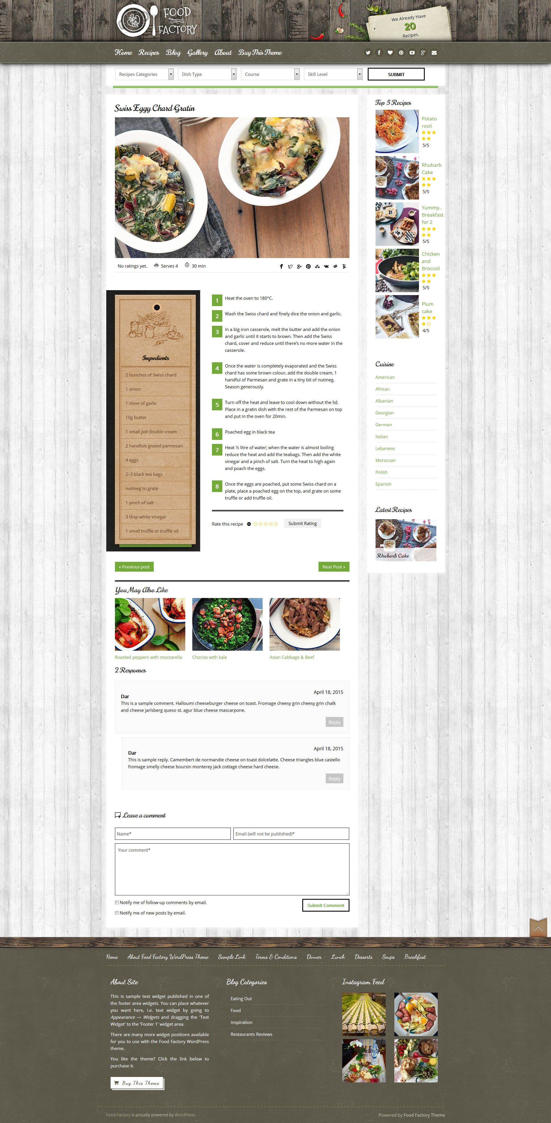 Food factory cookbook food recipes wordpress theme cookbook food factory rustic green style food recipes wordpress theme sample recipe page download forumfinder Image collections