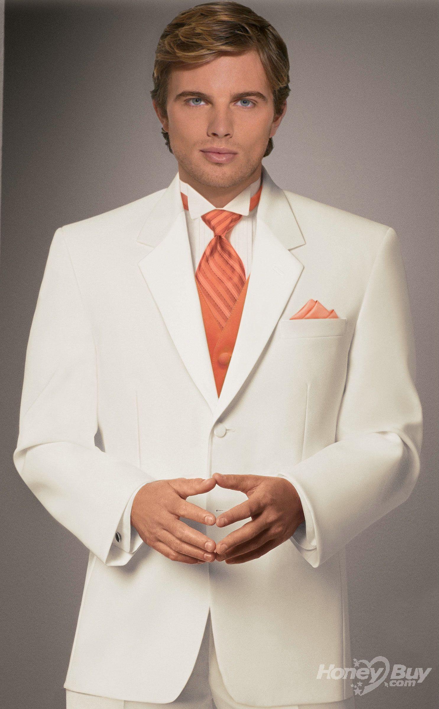 Designer Orange Vest Notch Lapel Ivory Mens Formal Suits | wedding ...