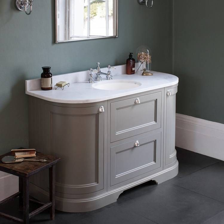 Burlington Olive 1340mm Curved Vanity Unit With Doors Drawers