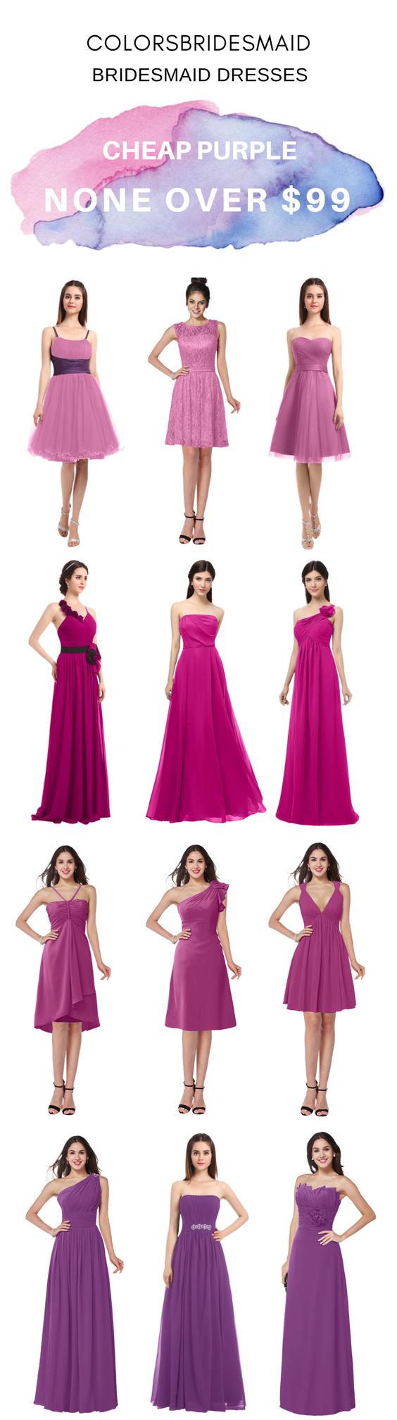 Cheap purple bridesmaid dresses in rosebloom hot pink raspberry