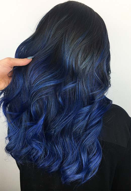 65 Iridescent Blue Hair Color Shades & Blue Hair Dye Tips