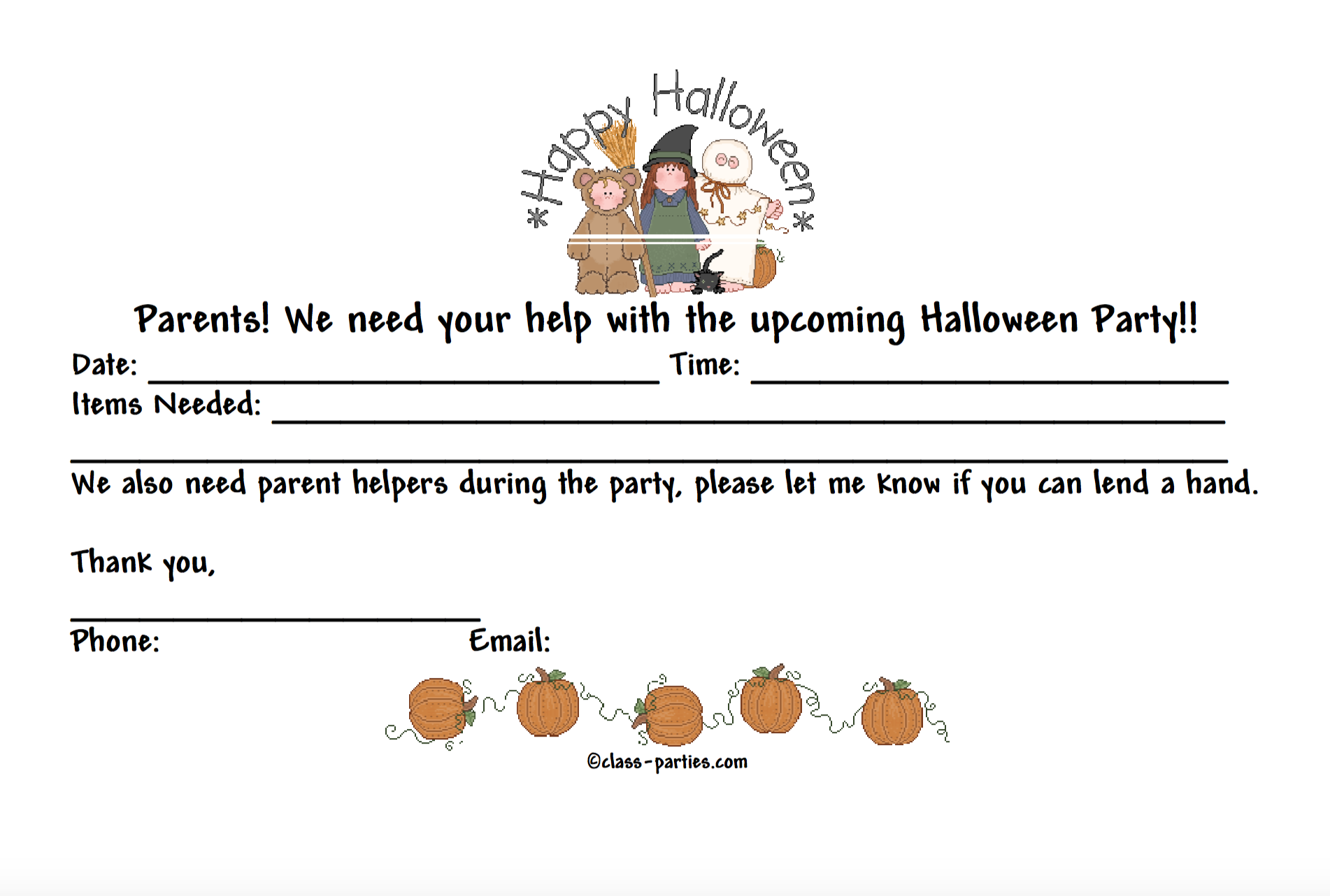 Ask Parents To Help Out At The Halloween Event With This Volunteer