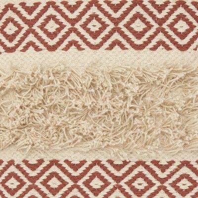 Mina Victory Life Styles Diamond Stripe Texture Throw Pillow - Red 18