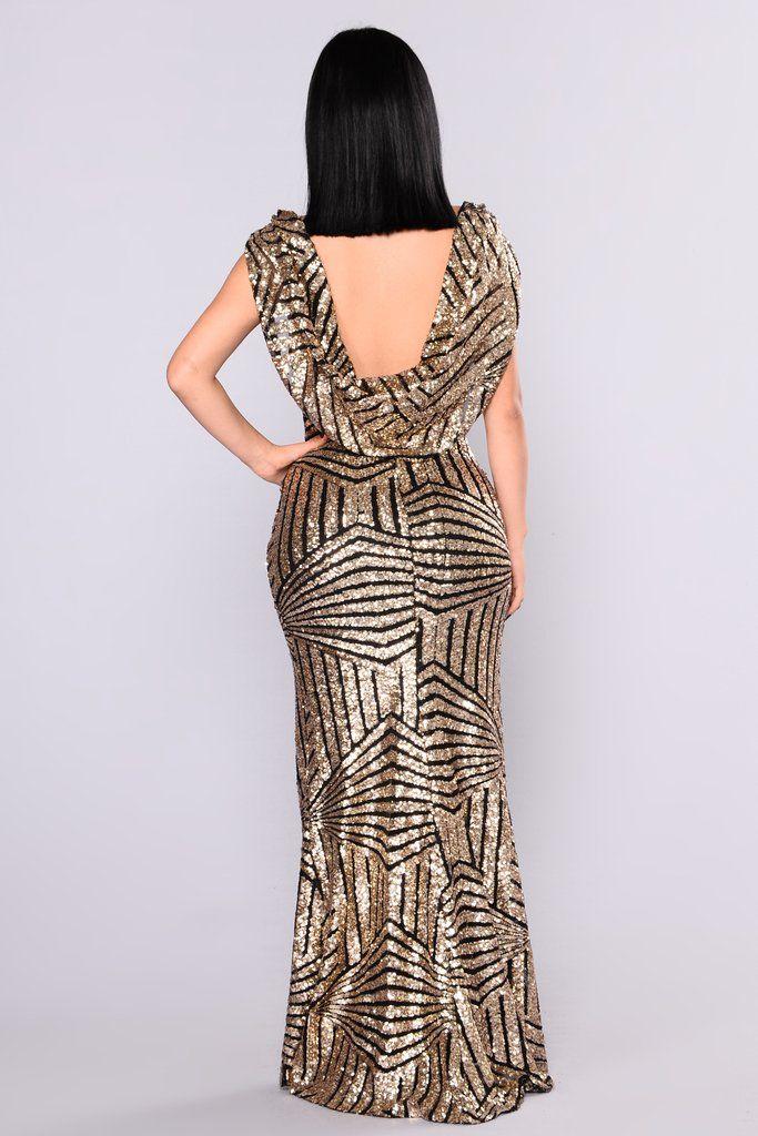 2bc4d84dc2 Milan Runway Sequin Dress - Black Gold