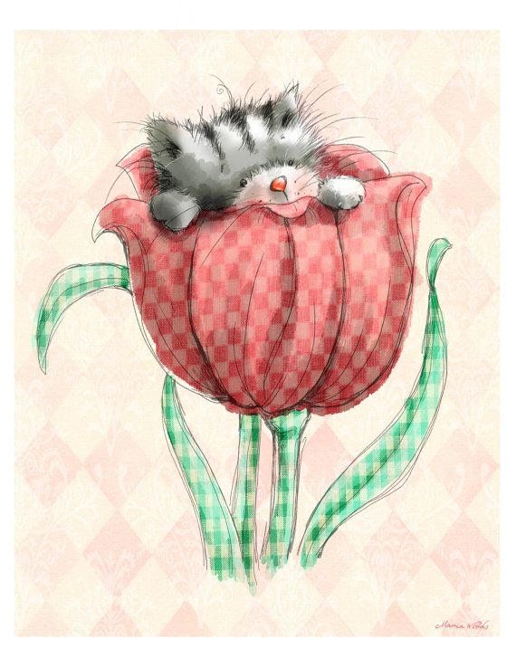 "Cute Kitten Peeping out of a Tulip. 8x10""  Art Print for Baby Girl's Nursery or Little Girl's Bedroom"