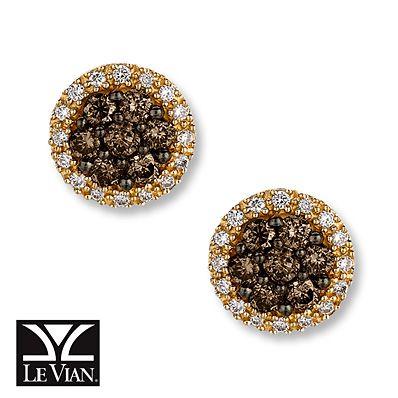 Levian Chocolate Diamonds 5 8 Ct Tw Earrings 14k Honey Gold