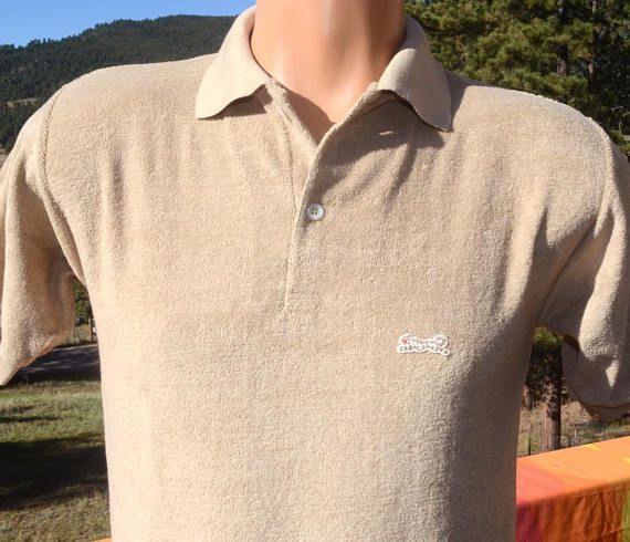 bf4a585c vintage 80s polo golf shirt LE TIGRE letigre terry cloth velour ...