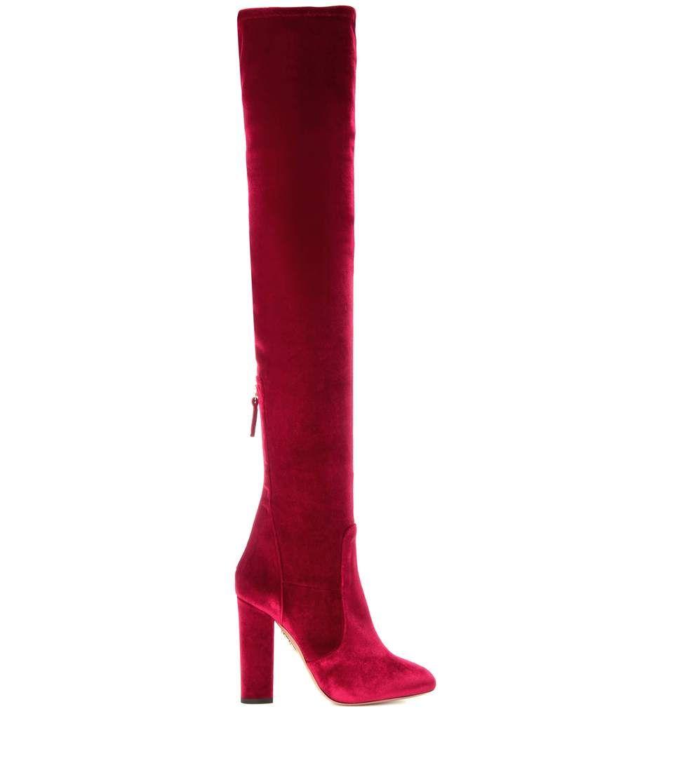 Velvet Over-the-knee Boots In Crimsoe