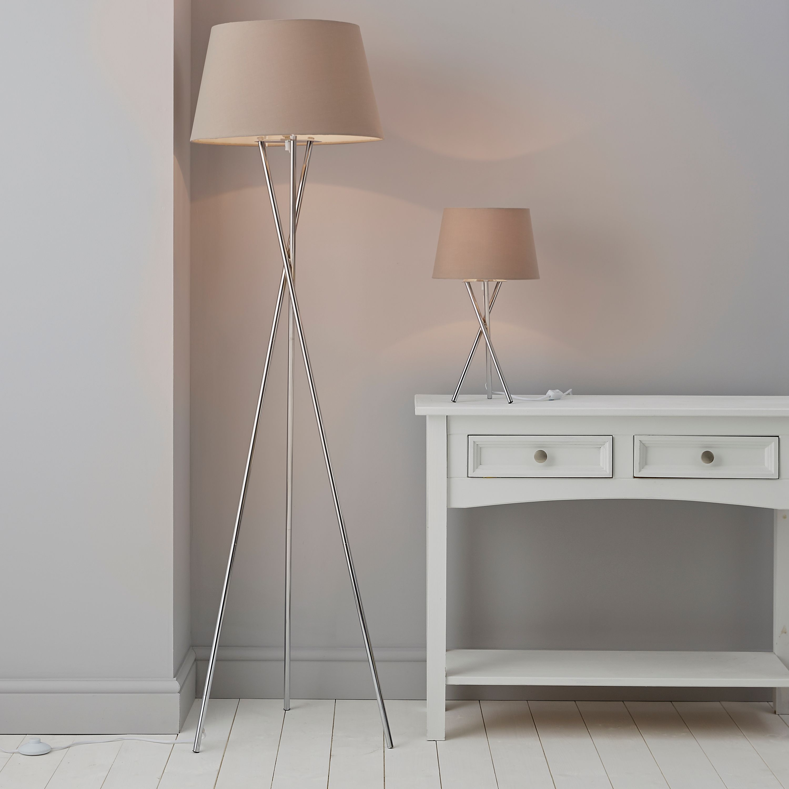 Jake Tripod Silver Chrome Floor & Table Lamp Set | Departments | DIY at B&Q
