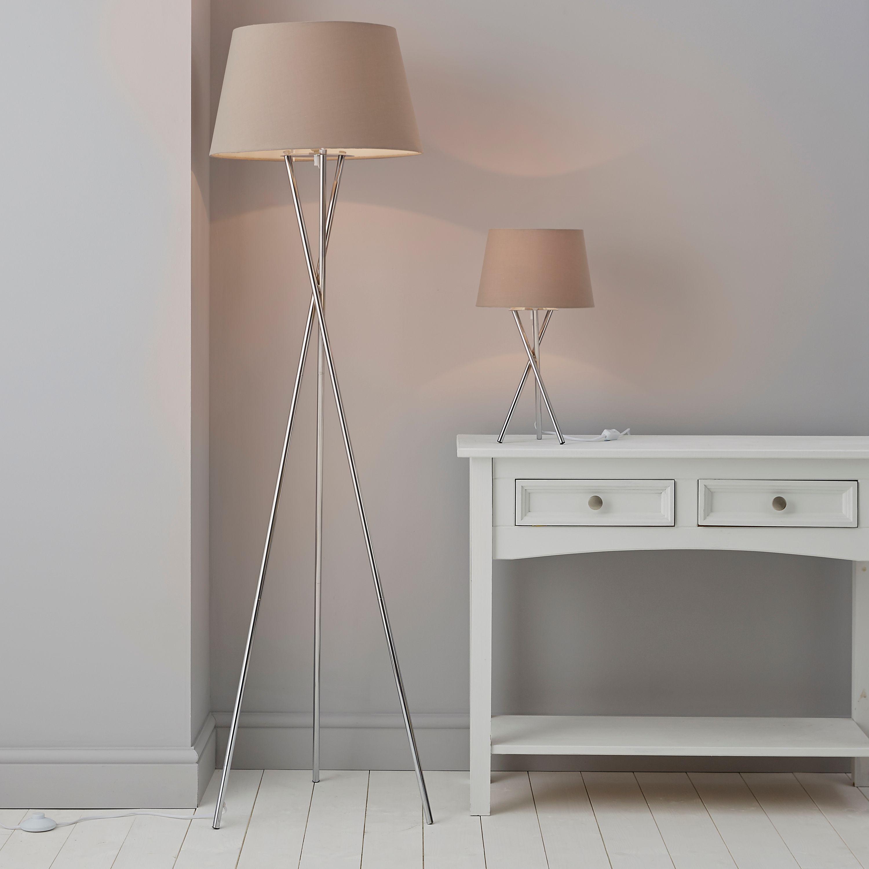 Jake Tripod Chrome Floor Table Lamp Set Departments Diy At