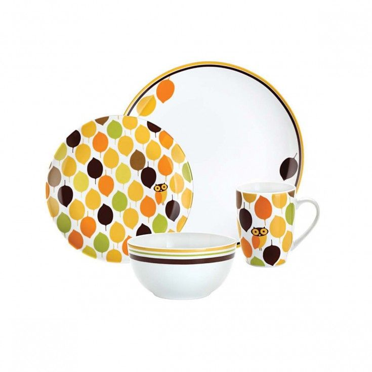 Rachael Ray Little Hoot 4-Piece Dinnerware Set  sc 1 st  Pinterest & Rachael Ray Little Hoot 4-Piece Dinnerware Set   Cooking in Style ...