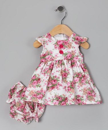 608dd16371f4 Take a look at this Pink Rose Dress   Diaper Cover by Baby Basics ...