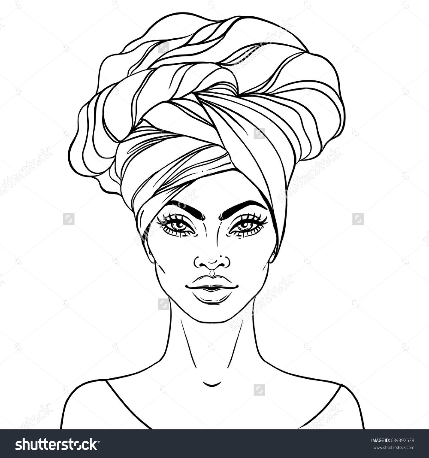 African American pretty girl Vector Illustration of Black Woman with glossy lips and turban Great for avatars Illustration isolated on white Coloring book for adults Face...