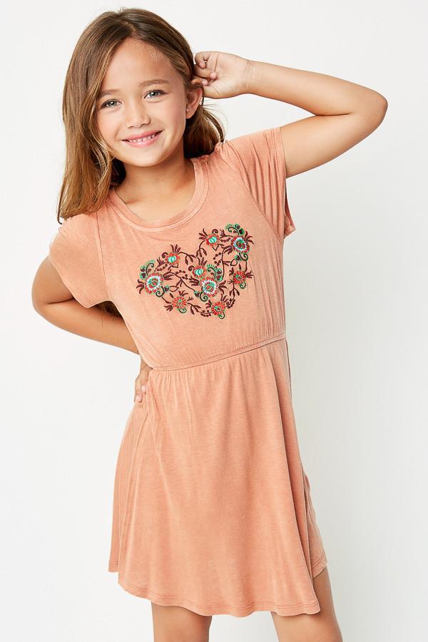 f83d837d5b15 Heart Embroidered Jersey Dress