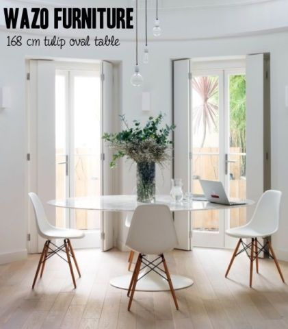Tulip Table And Chairs Uk Folding Umpire Chair White Eiffel Wood Base Could Work Kelowna Beach House Dining Room Kitchen Oval