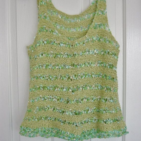 Summer Green and Aqua Blue Striped Hand Knit Tank by novelknitsdlm