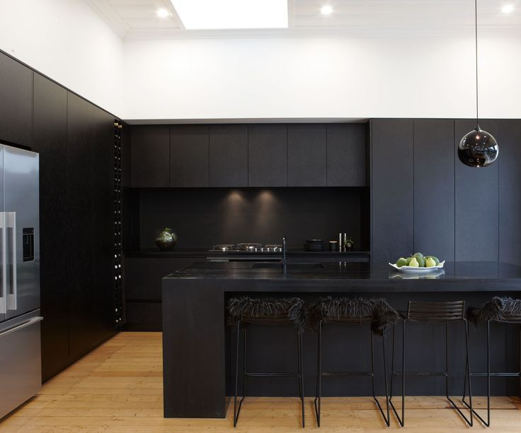 We Love These Black Cabinets Re Create This Gorgeous Matte Kitchen Look With Fenix Ntm Http Na Reha Matte Black Kitchen Modern Black Kitchen Black Kitchens