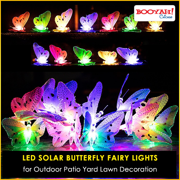 Solar Butterfly Fairy Lights for Outdoor Patio Yard Lawn Decoration use coupon code and Get 10% Discount on every purchase at Booyahchicago.com Shop Now : http://tinyurl.com/h3oet8s