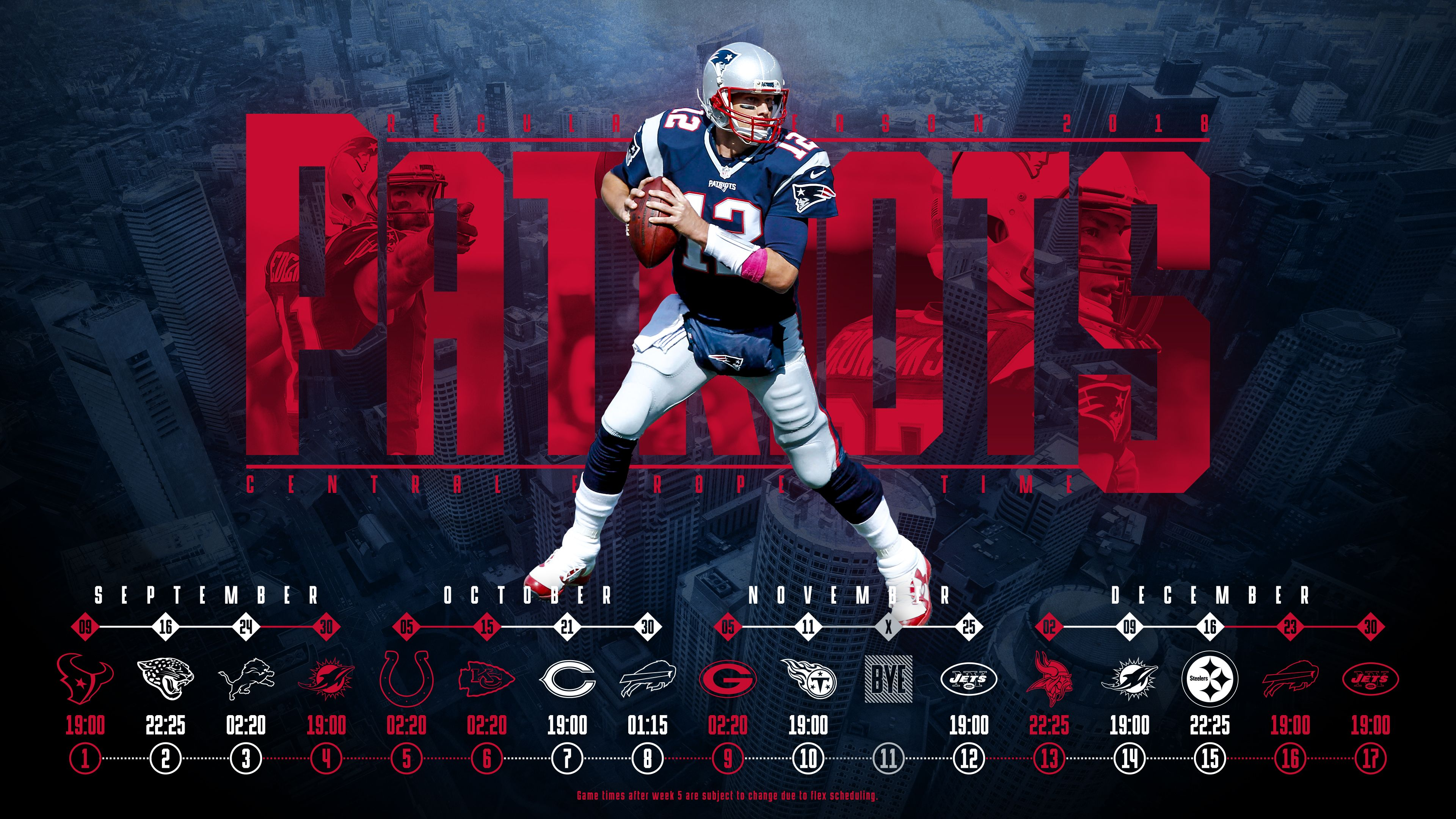 Schedule wallpaper for the New England Patriots Regular