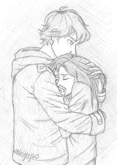Junge tröstet Mädchen zeichnen