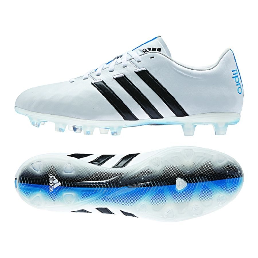 the best attitude 4581a deab5 Get the brilliant, comfortable Adidas adiPure 11Pro FG Soccer Cleats (White  Black Solar Blue) at SoccerCorner.com today!  futbolbotines