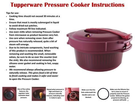 Tupperware Pressure Cooker Recipes And Cooking Guide Microwave