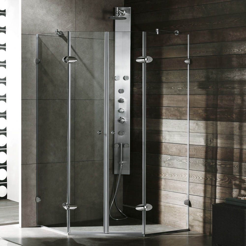 This Glass Frameless Shower Enclosure Is Completely Clear For Added