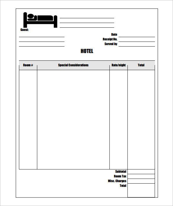 Sample Hotel Invoice Template Free , Invoice Template for Mac - blank reciept