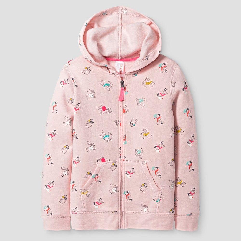 Girls' Fleece Zip Hoodie Cat & Jack - Pink Animals XS, Girl's, Parlor Pink