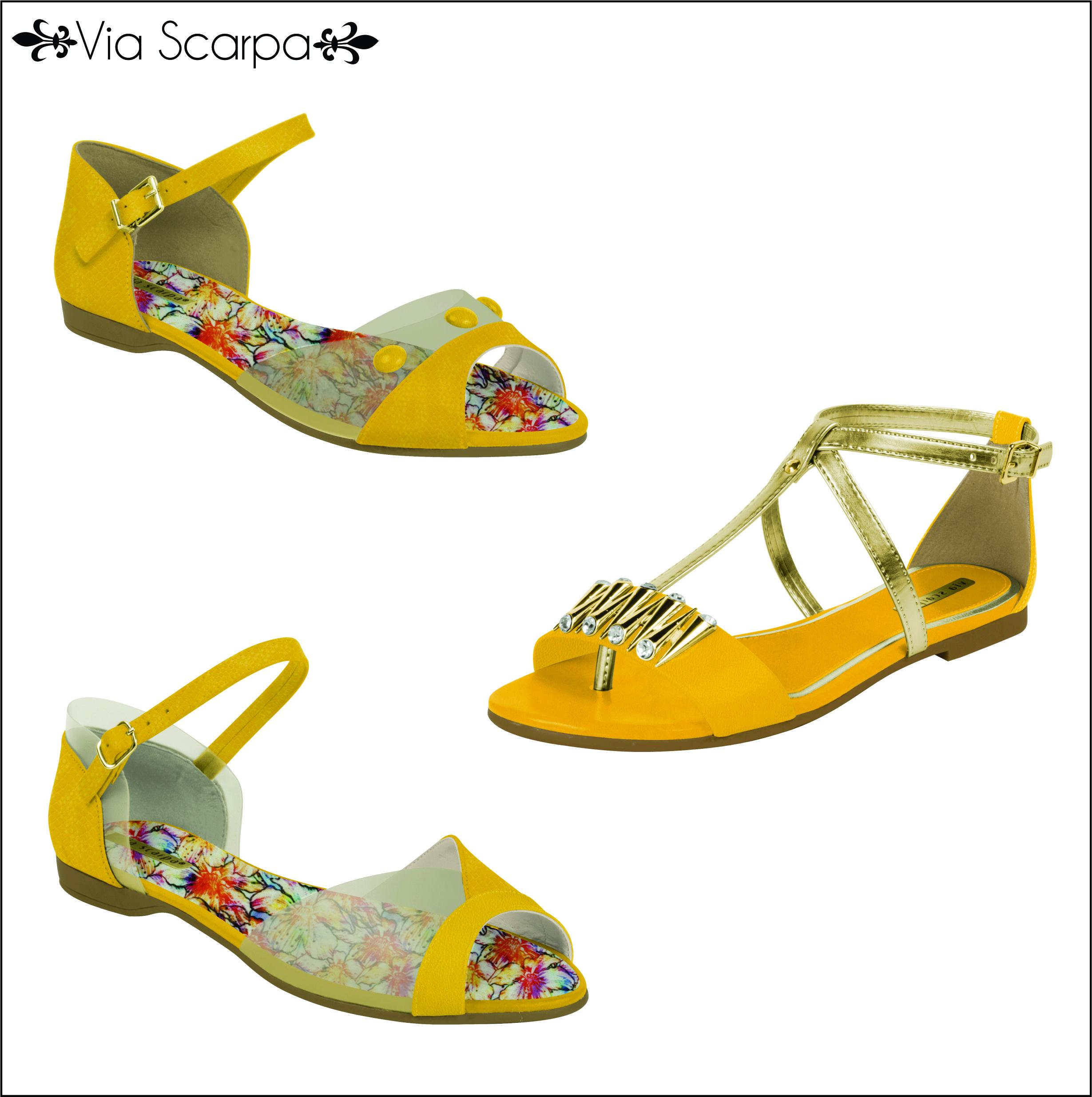 O Verão promete vir citrico, todo trabalhado no amarelo e também com uma pitadinha de laranja, super contagiante, a cara do verão. Trazendo uma energia vibrante e positiva! <3 <3 <3 #viascarpa #shoes #amarelo #canário #verão2015 #trends
