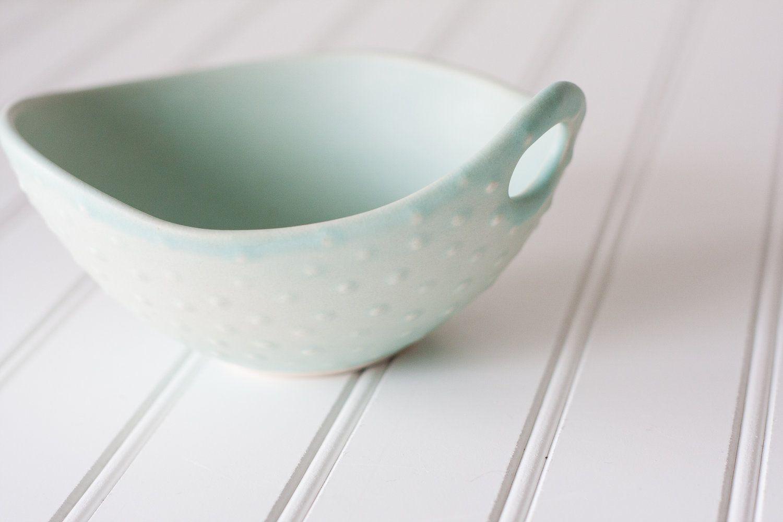 Pottery Bowls  Soft Seafoam Green Polka Dot by FringeandFettle, $28.00
